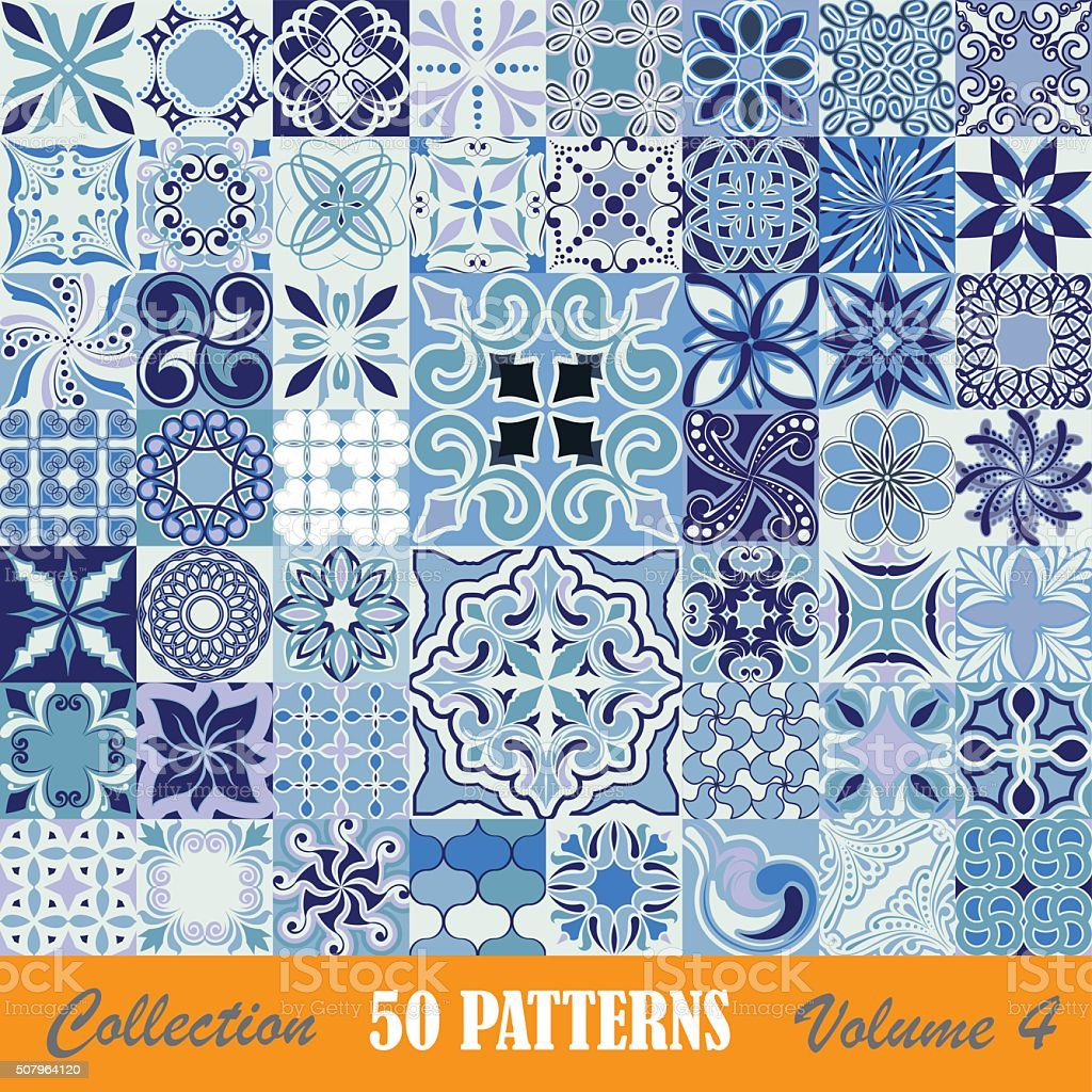 Set of blue tile patterns vector art illustration