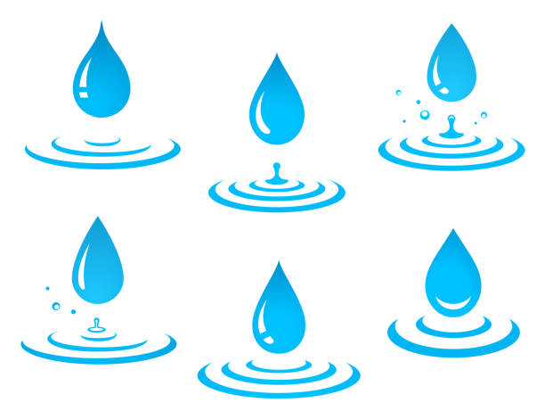 stockillustraties, clipart, cartoons en iconen met set druppel blauw water en splash - druppel