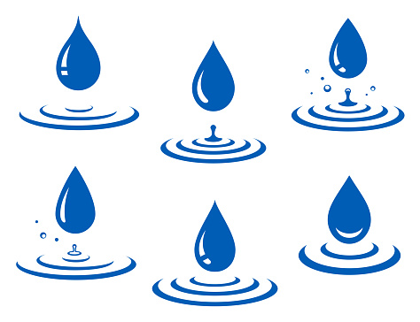 set of blue water drop icons and splash