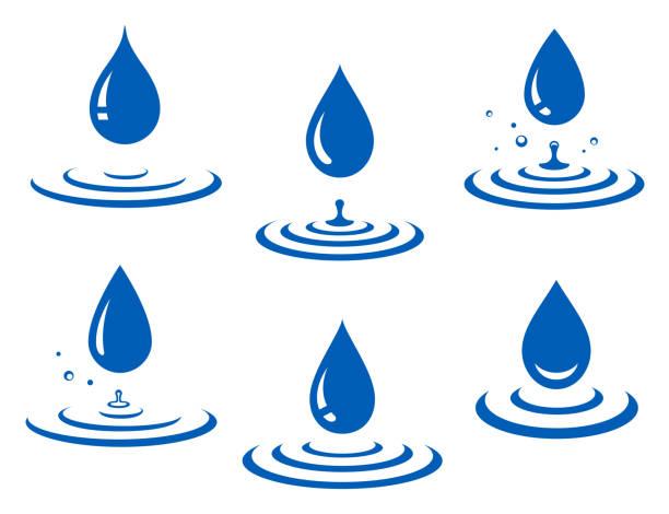 zestaw niebieskich ikon kropli wody i rozprysków - fala woda stock illustrations
