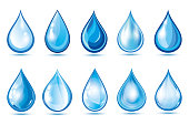 Big set of different glowing blue 3d water drops isolated on white background. Collection of nature objects, graphic design elements, icons or logo. Vector illustration