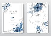 Set of beautiful blue watercolor florals card. Decorative floral greeting card, wedding or invitation design background. - Vector