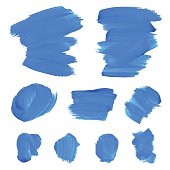 Set of blue watercolor spots on white background