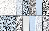 Vector set of blue, white and gray seamless floral patterns.