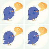 Set of Bluebirds with a Bubble Speech