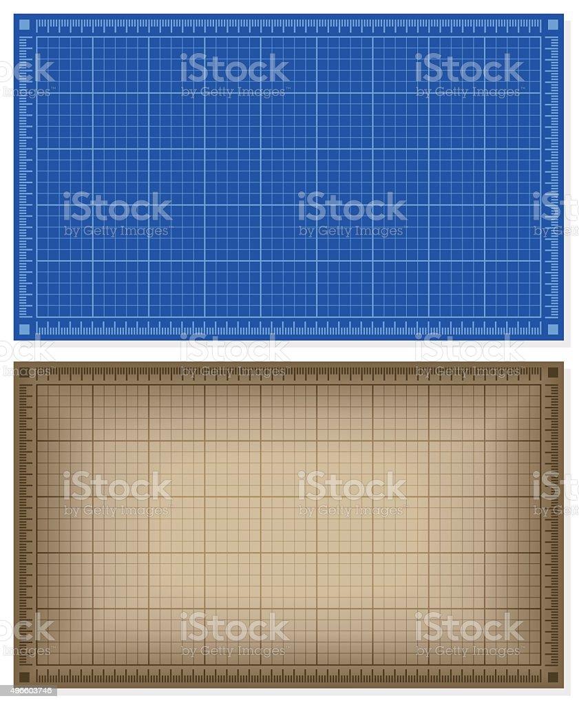 Set of blueprint backgrounds vector art illustration