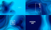 Set of four backgrounds blurred, modern and trendy. Abstract design with wave shapes (blue). Background templates for your design, with space for your text. Vector Illustration (EPS10, well layered and grouped), wide format  (5:3). Easy to edit, manipulate, resize or colorize.