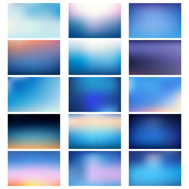 BIG set of blurred nature blue backgrounds. vector art illustration