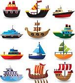 12 cute cartoon boats,vector