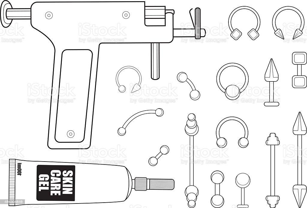 Set of body piercing instruments. Contour vector art illustration