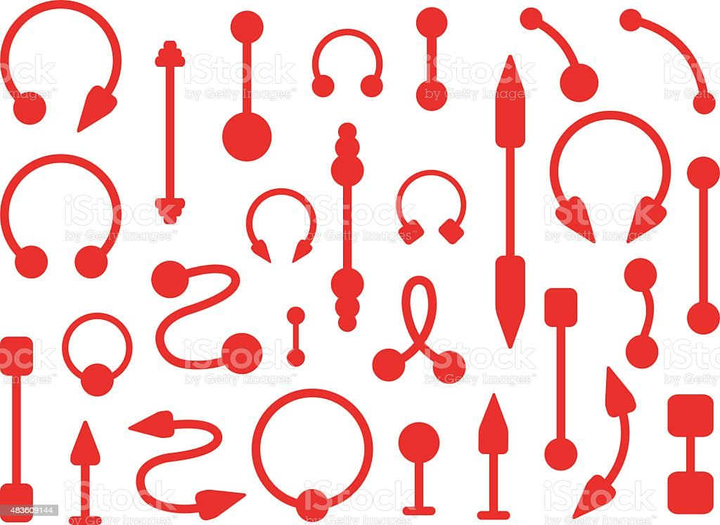 Set of body piercings jewelry. Silhouettes vector art illustration