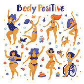 Set of happy slim and plus size women in bikini, swimming suits dancing, flat vector illustration isolated on white background. Body positive, girl power concept - set of various happy women, girls