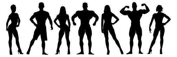 bildbanksillustrationer, clip art samt tecknat material och ikoner med uppsättning bodybuilders vektor silhuetter. poserar muskulös män och kvinnor - strenght men