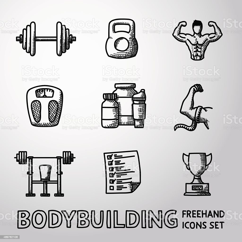 Set of Bodybuilding freehand icons with - dumbbell, weight, bodybuilder vector art illustration