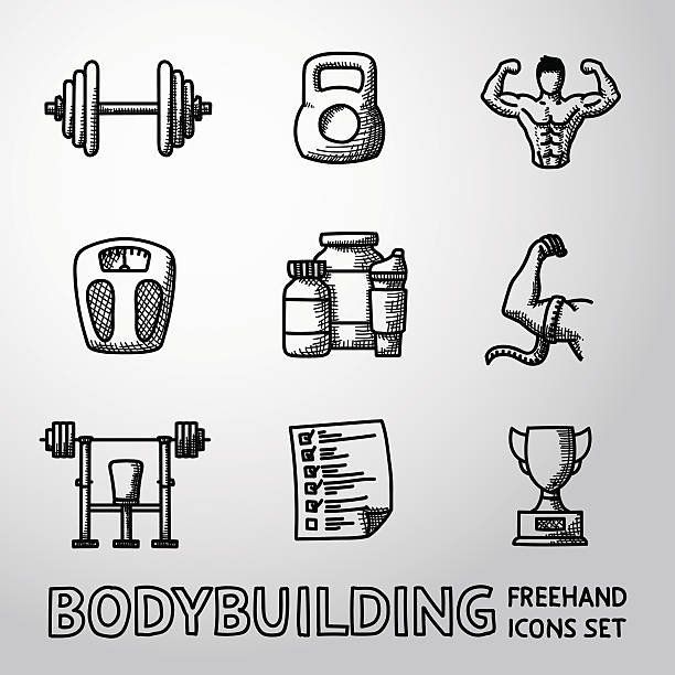 set of bodybuilding freehand icons with - dumbbell, weight, bodybuilder - cartoon muscle arms stock illustrations, clip art, cartoons, & icons