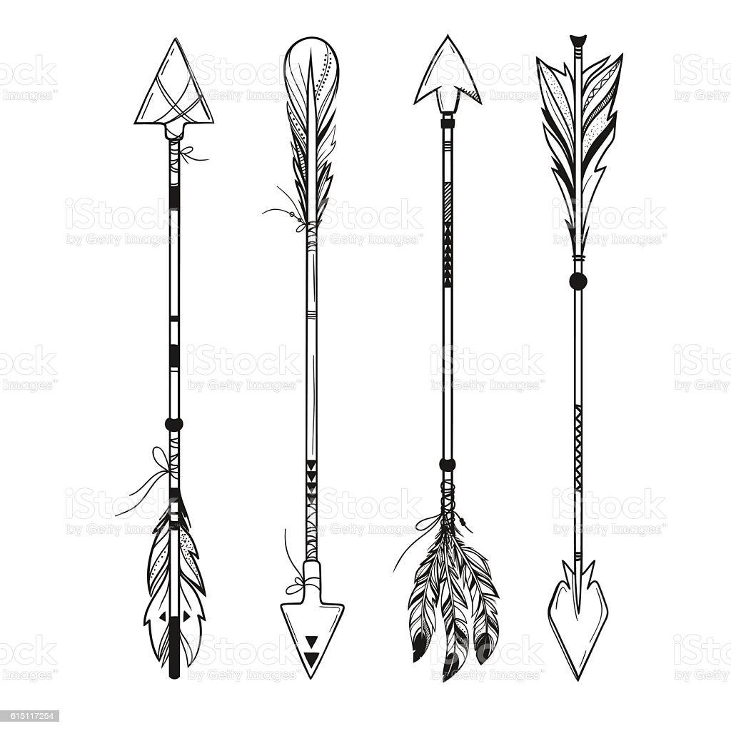 set of boho arrows vector illustration stock vector art more rh istockphoto com bow arrow vector art decorative arrow vector art