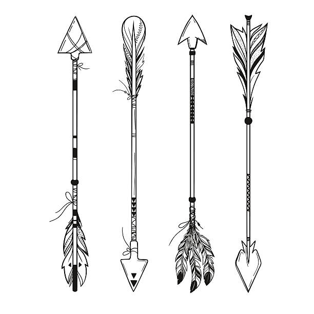 set of boho arrows, vector illustration - tribal tattoos stock illustrations, clip art, cartoons, & icons