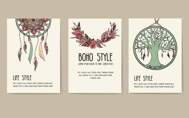 Set of boho ornament illustration style concept. Art traditional, poster, book, layout abstract, magazines, brochure. Vector decorative ethnic greeting card or invitation  design background Set of boho ornament illustration style concept. Art traditional, poster, book, layout abstract, magazines, brochure. Vector decorative ethnic greeting card or invitation  design background. dreamcatcher stock illustrations