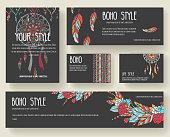Set of boho ornament illustration style concept.