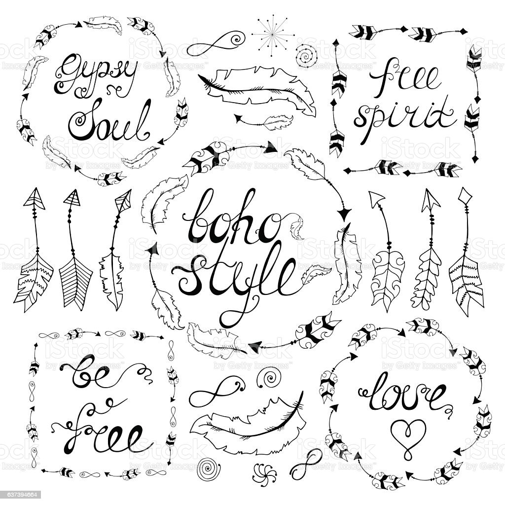 Set of boho style frames with place for your text​​vectorkunst illustratie