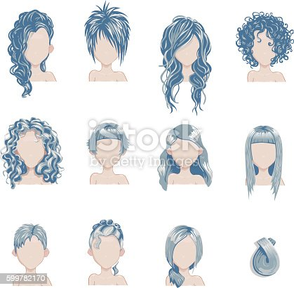 Set of bold hair colors female style sprites. Vector game design for app