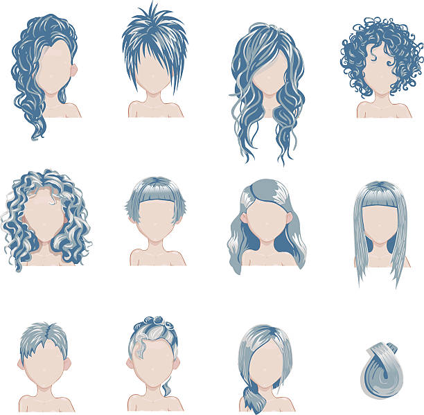 stockillustraties, clipart, cartoons en iconen met set of bold hair colors female style sprites. - blond curly hair