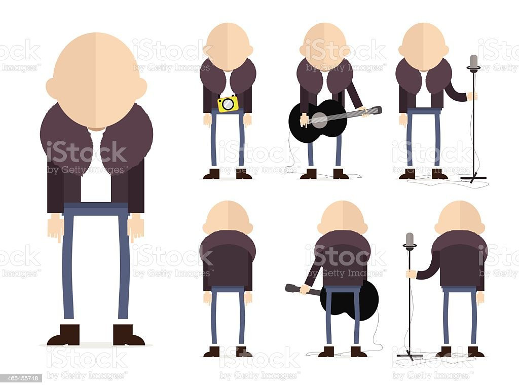 Set of bold musician in three different poses. vector art illustration
