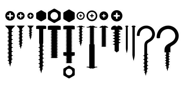 Set of bolts nuts nails Set of bolts nuts nails. Various iron screws collection. nail work tool stock illustrations