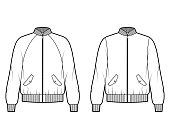 Set of Zip-up Bomber jackets technical fashion illustration with Rib baseball collar, cuffs, oversized, long raglan sleeves, flap pockets. Flat coat template front, white color. Women, men, unisex CAD