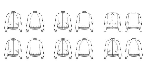 Set of Bomber jackets technical fashion illustration with Rib baseball collar, cuffs, long raglan sleeves, flap pockets