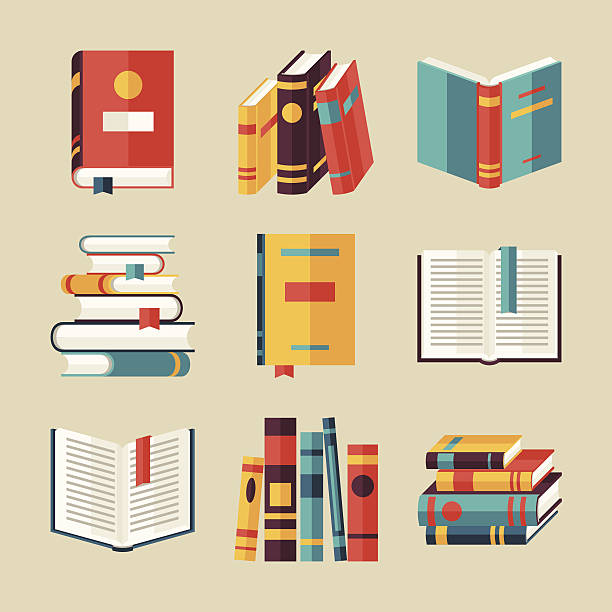 stockillustraties, clipart, cartoons en iconen met set of book icons in flat design style. - prentenboek
