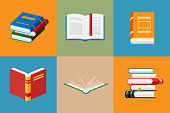 Set of book icons in flat style isolated.
