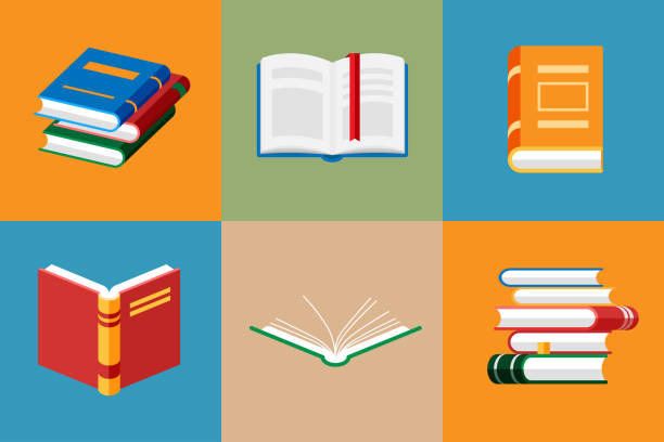 Set of book icons in flat style isolated. Set of book icons in flat style isolated. Opened notebook and diary with color bookmarks. Stack of literature and documents. Publication, study, learning concept. book icons stock illustrations