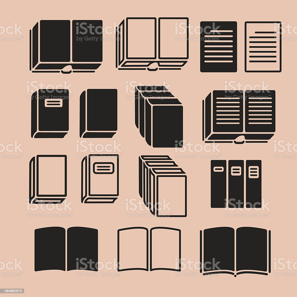 Set of Book Icons vector art illustration