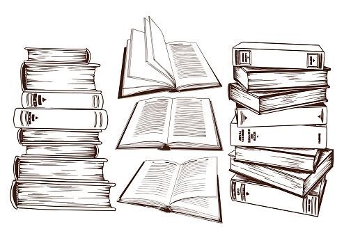 Set of book stacks.
