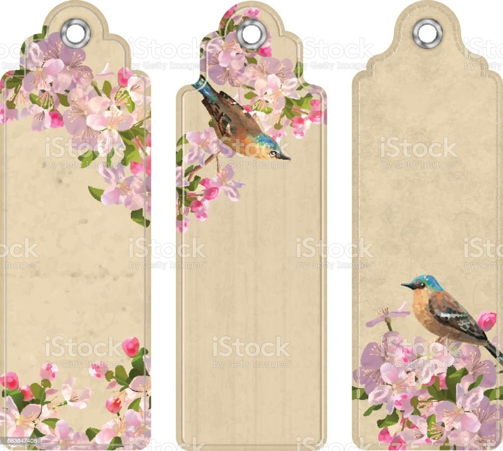 Set of Bookmarks with Flowers vector art illustration