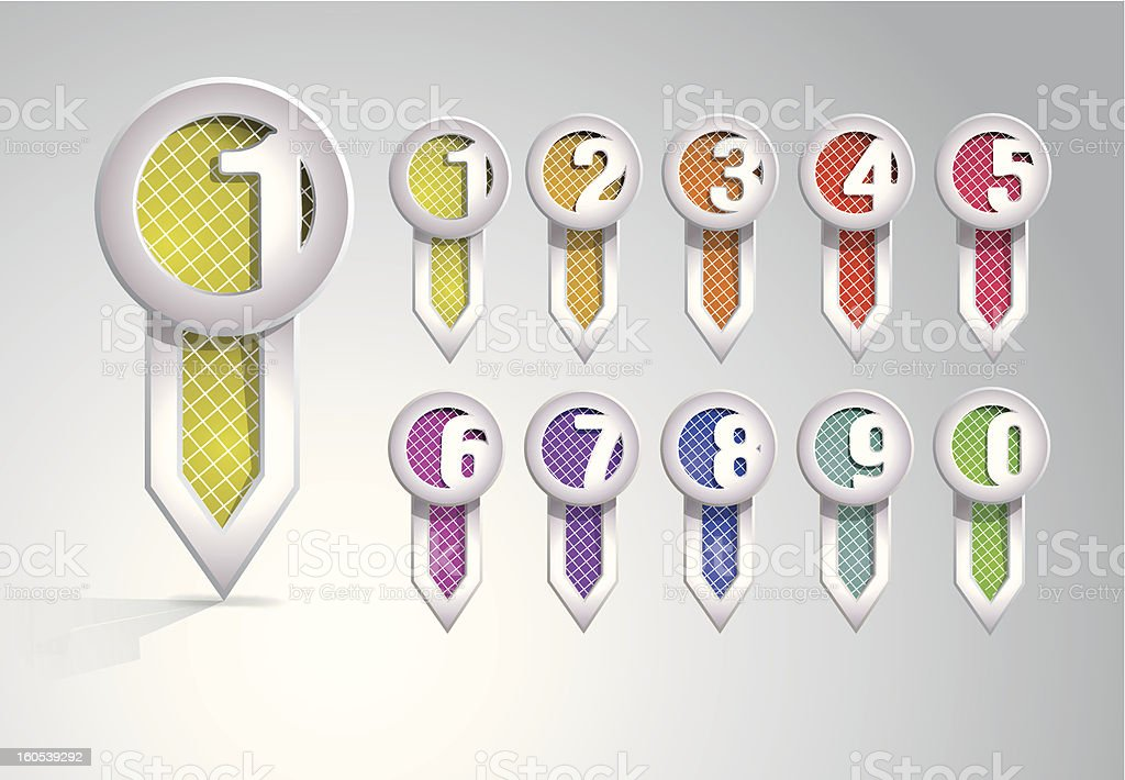 Set of bookmarks with numbers royalty-free stock vector art