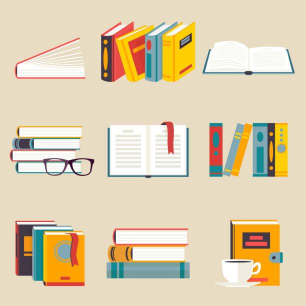 Ein Satz von Büchern flachen Stil – Vektorgrafik