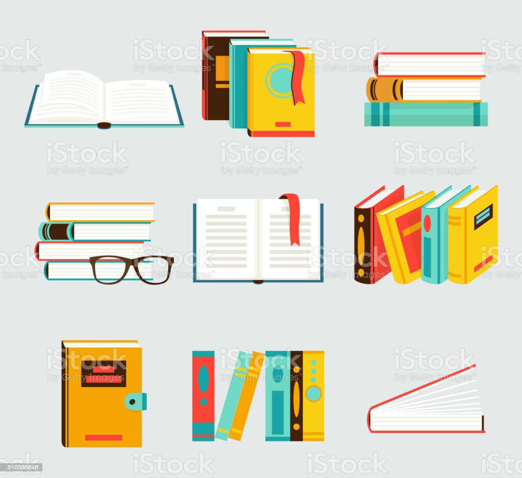 Set of books flat style vector art illustration