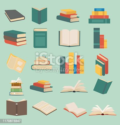 set of books in flat design collection