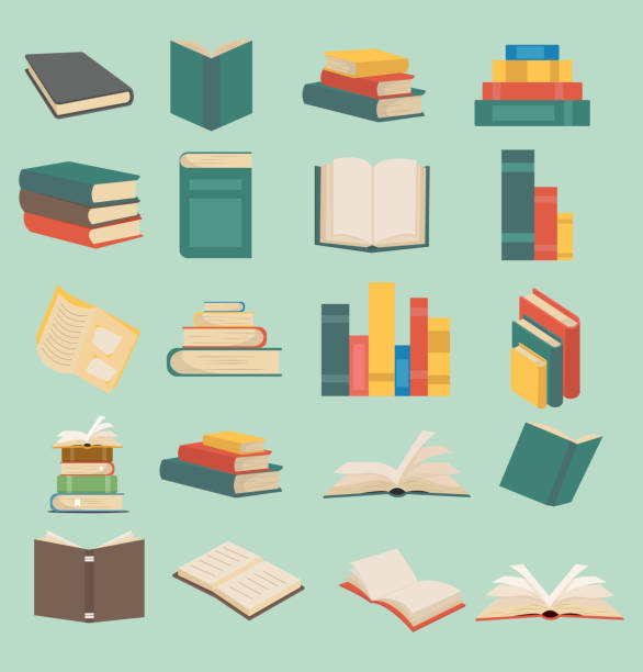 stockillustraties, clipart, cartoons en iconen met set boeken in flat design collectie - boek