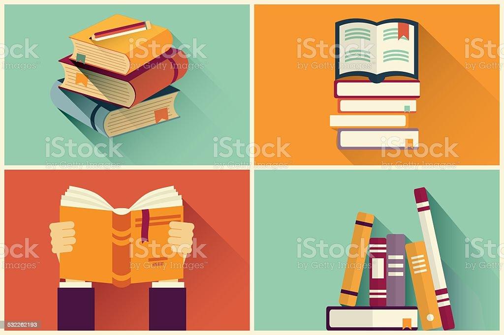 Set of books in flat design vector art illustration