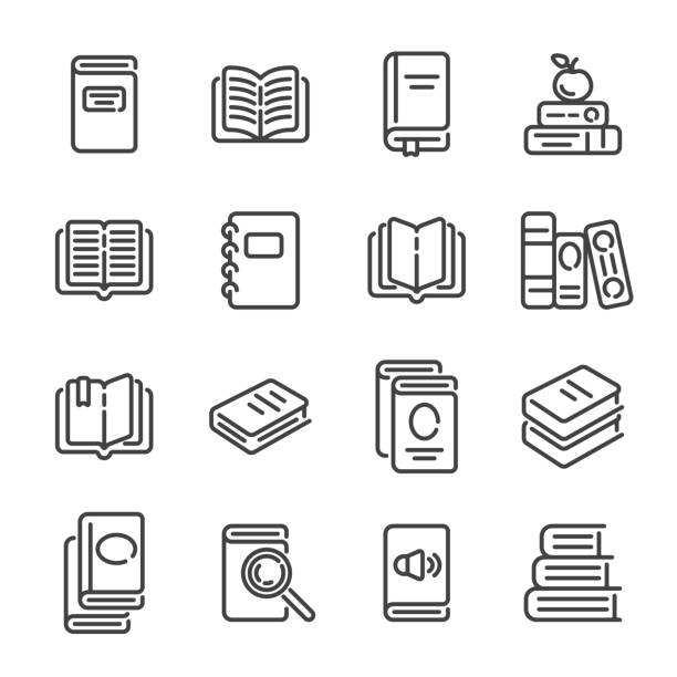 Set of books or reading outline icons. Vector illustration. Set of books or reading outline icons on white background. Vector illustration. book icons stock illustrations