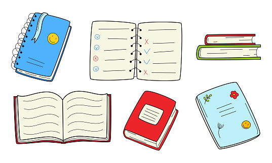 A set of books, school exercise books, notebooks on a spring. Doodle style. Hand-drawn black and white outline vector illustration. Isolated on a white background.