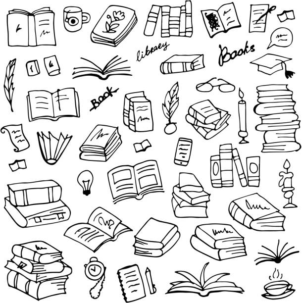 set of books, sketch for your design - book drawings stock illustrations