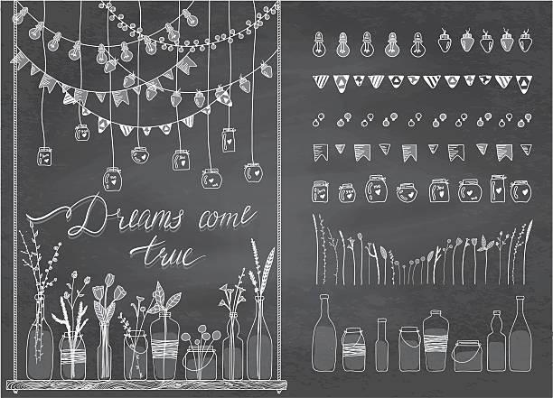 satz von grenzen, girlanden, gläser und flaschen, blumen, flaggen, lampen - glasblumen stock-grafiken, -clipart, -cartoons und -symbole