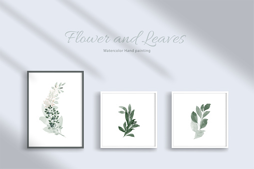 Set of botanic and leaves in watercolor hand-painting for wall art