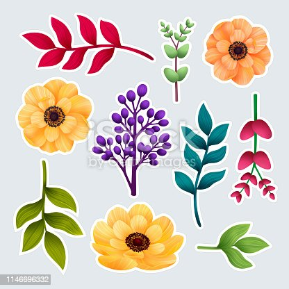 Set of botanic of stickers. Garden and wild foliage, flowers and branches isolated on gray background, Exotic, tropical plants. Vector illustration
