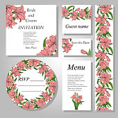 Set of botanical handpainted Amaryllis (Hipperastrum) flower wedding invitation card. Vector illustration. Wedding set. Thank you, save the date , menu, RSVP card