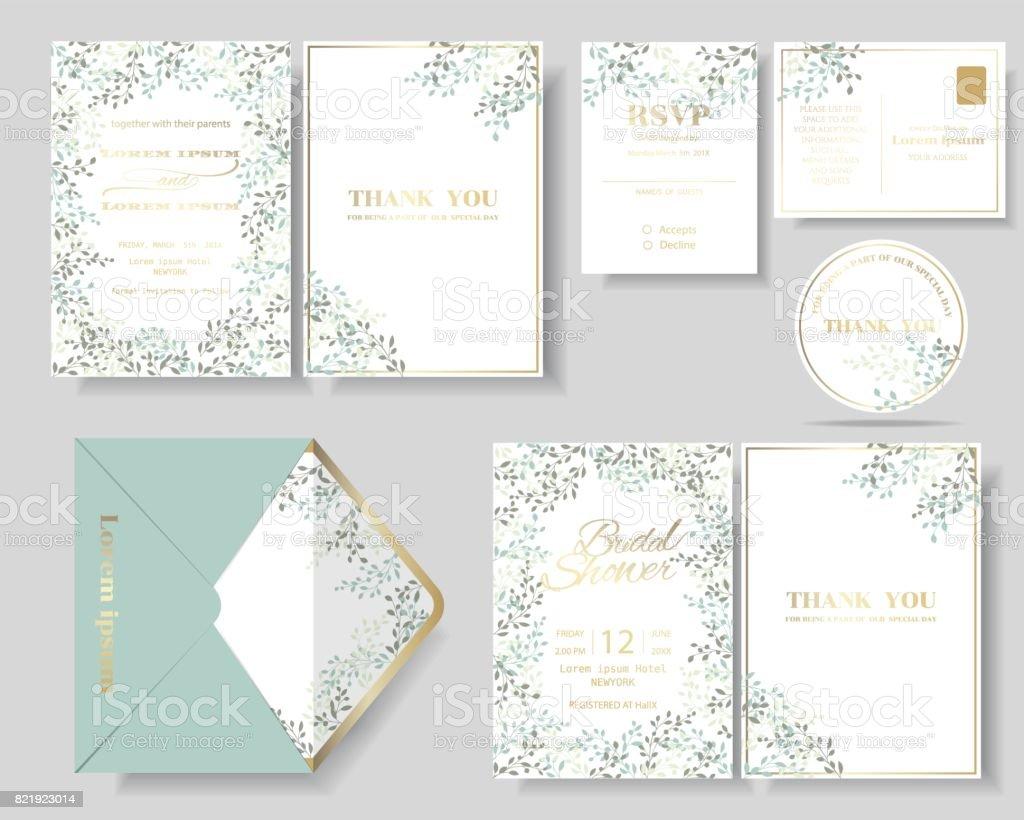 Jeu de carte d'invitation mariage botanique feuilles Couronne. - Illustration vectorielle